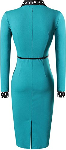 Jeansian Femme Mode Cocktail Fashion Robes Women Dresses Party Slim Business Sheath Pencil Dress WKD297 green