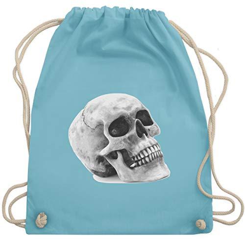 Piraten & Totenkopf - Totenkopf Skull - Unisize - Hellblau - WM110 - Turnbeutel & Gym (Piraten Kostüm Einfache Ideen)