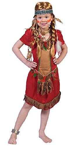 Nerds Mädchen Kinder Kostüm - Nerd Clear Indianer Kostüm für Kinder | Modell Roter Falke für Mädchen | Größe 128