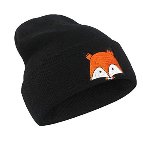Webla Fox Pattern Embroidery Hat Unisex Winter Warm Knitted Soft Cap Hats