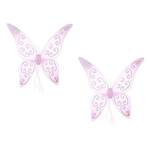 Fenteer 2 Stück Glitzer Schmetterlings Flügel Elfenflügel Feenflügel Fee Flügel Zauberwelt Kinder Erwachsenen Mädchenkostüm Feenkostüm