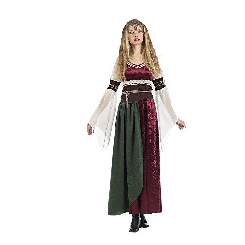 Elbenwald Mittelalter Damen Kostüm Kleid mit Schärpe Prinzessin Xena 2-TLG. rot weiß braun - L (Rote Prinzessin Kostüm)