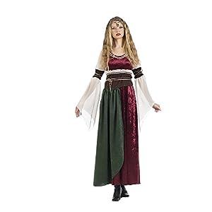 Traje Medieval para Las Mujeres se Visten con la Banda de Princesa Xena 2 pcs. Rojo marrón Blanco - L