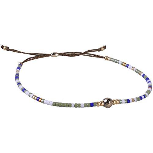 KELITCH Armband Blau Rocailles Perlen Braun Zart Schnur Freundschaftsarmbänder mit Vergoldet Hämatit (Fit-tee Unisex)