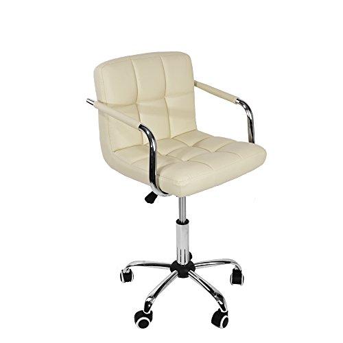 Leder Computer Schreibtisch Stuhl (shougui trade Moderne Mid Back Support Swivel Computer Schreibtisch Stuhl PU Leder hoch Verstellbarer Bürostuhl für Computer Desk Workstation (Beige))