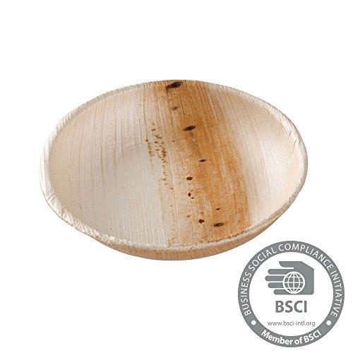 25x mini coupelles en palme | 80ml, Ø10cm rond | 100% biodégr. compost. | veinure déco individuelle | stable solide | pour les sauces, buffets & amuse-bouches