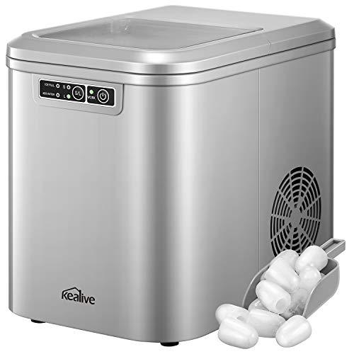 Kealive Eiswürfelmaschine / Leise und Schnell Eiswürfelbereiter / Produktionszeit 6 - 10 Minuten / 12kg-15kg Eis pro Tag / 2 Eiswürfel-Größen / 2.2L Wassertank / LED Anzeige / BPA-frei / Grau