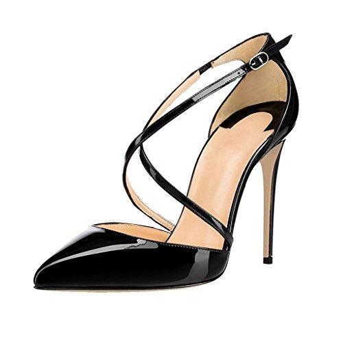 EDEFS - Scarpe col Tacco Donna - Tacco a Spillo - Scarpe con Cinturino Alla Caviglia Nero
