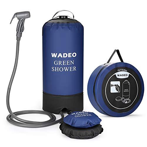 WADEO Campingdusche mit Pumpe, Druckdusche Solar Dusche Tasche Solardusche Reisedusche 11 Liter mit Duschkopf tragbare und Abnehmbarem Schlauch Duschen Beutel Shower für Wandern, im Freien, Klettern