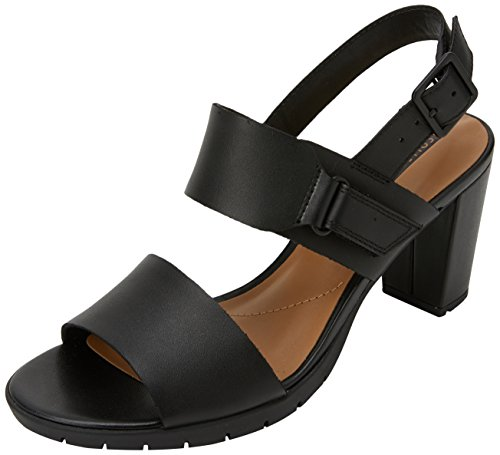 Clarks Damen Kurtley Shine Slingback Sandalen, Schwarz (Black Leather), 39 EU