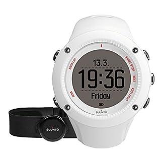 Suunto Unisex Ambit3 GPS-Uhr zum Laufen, 15 Std. Akkulaufzeit, Herzfrequenzmesser + Brustgurt, Wasserdicht bis 50 m, weiß, SS021259000