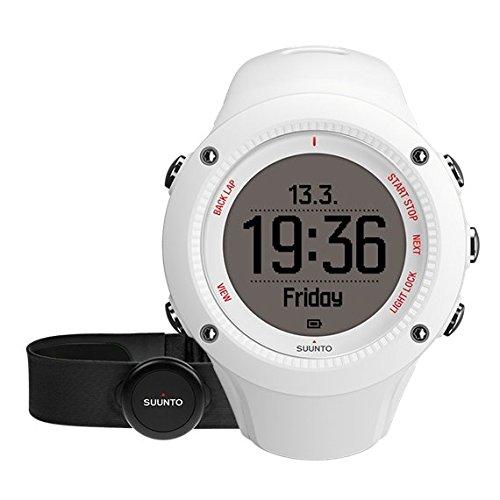 Suunto AMBIT3 RUN HR SS021259000 Orologio GPS, Unisex, Pensato per i Runner, Fino a 15 Ore di Durata della Batteria, Monitoraggio Frequenza Cardiaca + Fascia Cardio, Resistente all'Acqua Fino a 50 m, Taglia M, Bianco