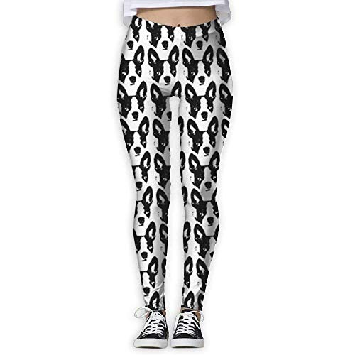 Deglogse Yogahosen, Trainingsgamaschen,Boston Terrier Sketch Women Printed Full-Length Yoga Workout Leggings for Running Outdoor Sports