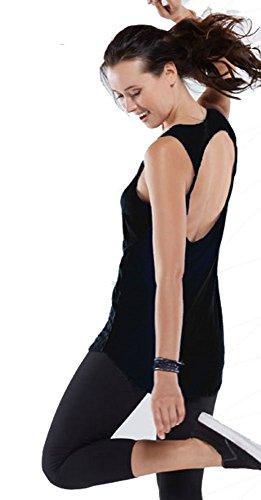 Hot Yoga-Canotta senza maniche Cartonato posteriore dalla linea allungata nero nero S (10)