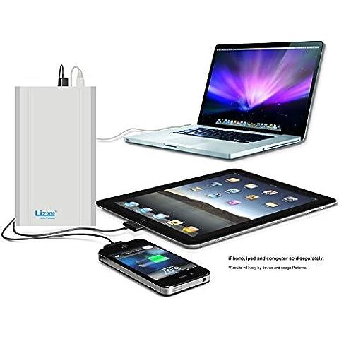 Lizone® Extra Pro 60000mAh súper capacidad Power Bank Batería Externa Cargador Portátil para Apple MacBook, Notebooks Dell, HP, Lenovo,IBM,tabletas,Móviles,Samsung iphone Smartphones y Más -Aluminio UniBody- Plata