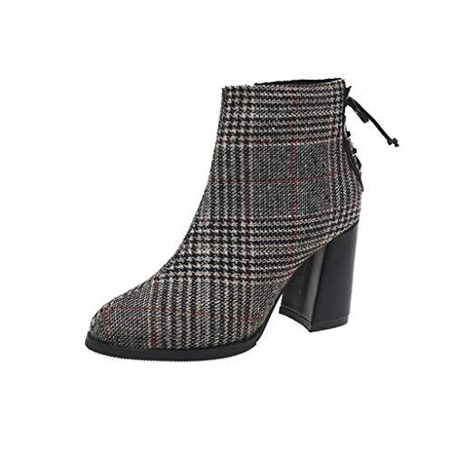 COZOCO Damen Mode Plaid Stiefeletten Fersenriemen Reißverschluss Stiefel Quadratischer Absatz Stiefel Mit Kurzem Schaft Freizeit Kurze Stiefel(A-Schwarz,36 EU)