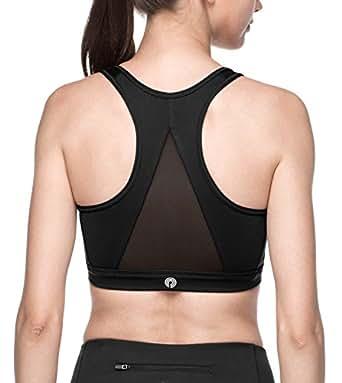 Lapasa Soutien-Gorge Brassière de Sport Femme sans Armature Dos Nageur - Yoga Gym Fitness Musculation L07 (XS (Tour de Poitrine : 80-84 cm), Noir (avec Maille sur Le Dos))