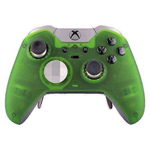 eXtremeRate Softlacke Hülle Case Cover Vorderseites Gehäuse Zubehör Oberschale Schutzhülle Schale Ersatzteile Skin für Xbox One Elite Controller mit Thumbstick Accent Rings(Transparent-Grün) Faceplate Ring