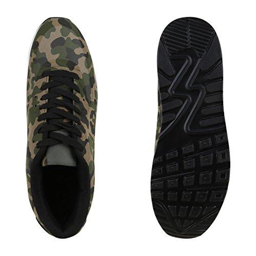 Stiefelparadies Herren Sportschuhe Leder-Optik Sneakers Velours Glitzer Metallic Runners Freizeitschuhe Schnürer Flandell Camouflage