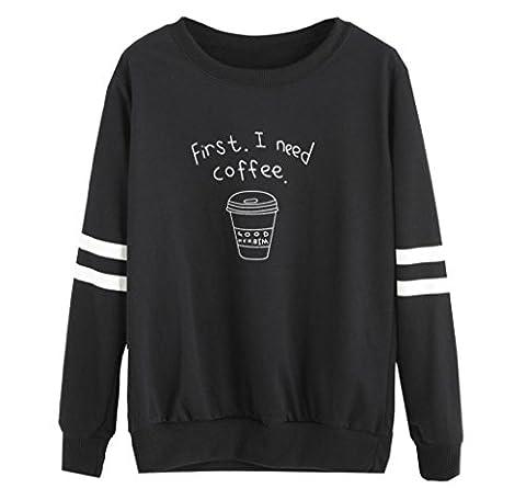 Tonsee Femmes Blouse à manches longues Lettre overs Print Sweatshirt (XL, Noir)