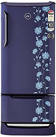Godrej 225L 4 Star Direct Cool Single Door Refrigerator (RD EDGE DUO 225 PD INV4.2, Erica Blue, Base Stand with Drawer, Inverter Compressor)
