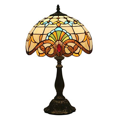 Vintage Tischlampe SCAML Kreative Retro Rustikale Exquisit Glas Lampenschirm Elegante Legierung Basis Handgefertigt Geeignet Für Nacht Schlafzimmer Schreibtisch Restaurant Bar Tiffany