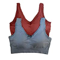 NIce 2020 Women's Full Coverage Non-Wired lace Shaper Fitness Sports Yoga Stretch Bra (bule+wine red)