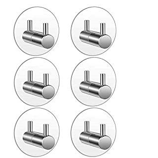 6 PC Stainless Steel Towel Hook/Wall Hook/Towel Holder, Aibesser Max 8kg Robe Hook Wall Hook Stainless Steel Bathroom Kitchen Towel Hooks No Drilling Required