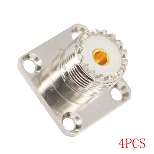 shangjunol 2ST / 4Pcs UHF Female SO239 Jack 4 Loch-Panel Chassismontage Flansch Solder Cup Steckverbinder Ersatz 4PCS -