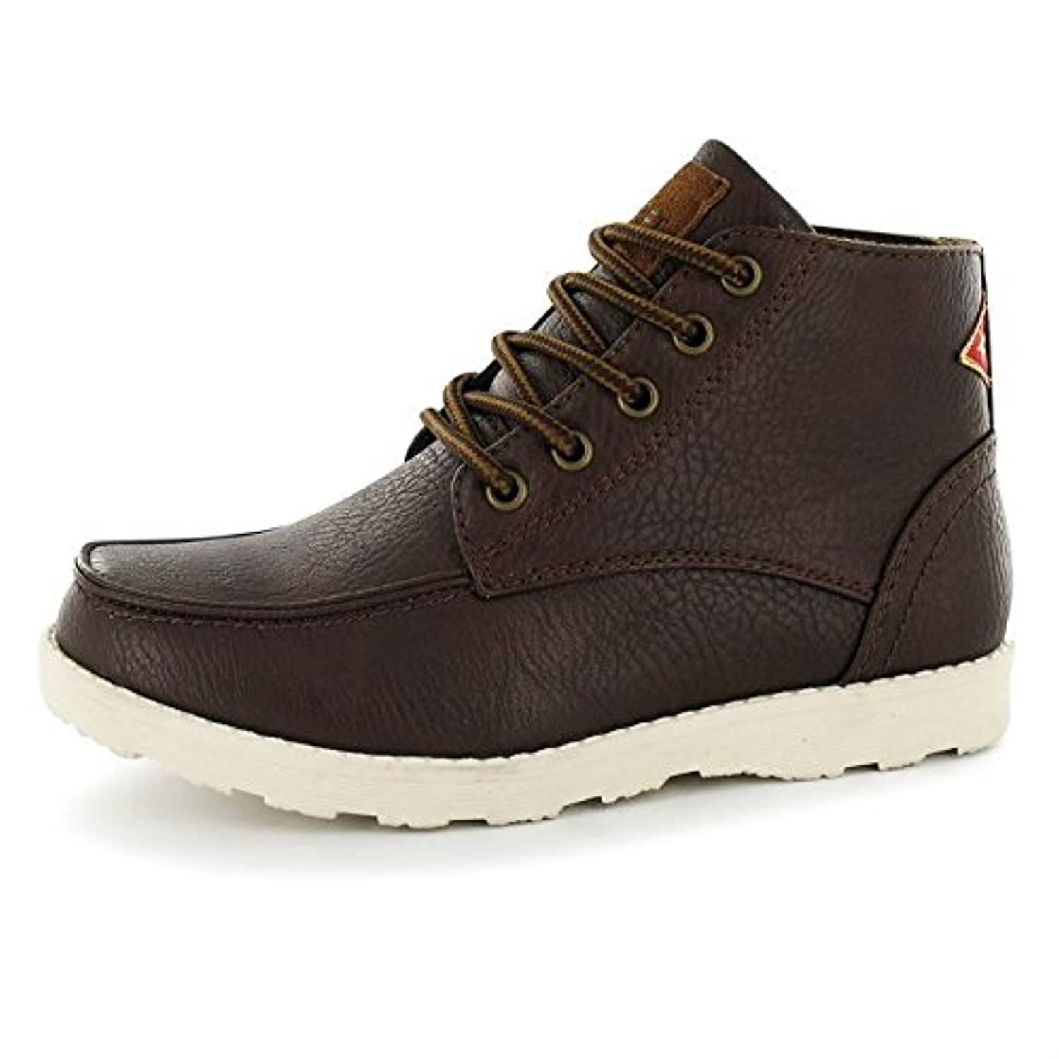Soviet Kids Boys Rewind Rugged Boots Lace Up Stitch Panels Hi Top Casual Shoes Brown UK 2 (34)