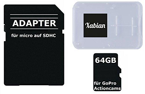 64GB MicroSD SDXC Class 10 UHS-1 Speicherkarte für GoPro Hero 5 / GoPro 4 Black / Go Pro Hero 4 Silver / Hero Session / Hero 3 mit SD Adapter und Memorycard Box (Gopro Hero 3 Silver Speicherkarte)
