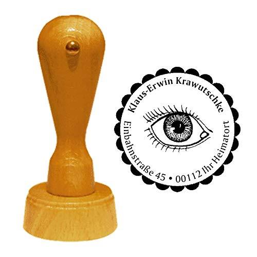 Stempel Adressstempel « AUGE » Durchmesser ca. Ø 40 mm - mit persönlicher Adresse und Motiv - Augenarzt Optiker