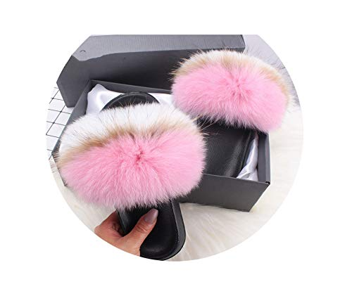 Fluffy Slippers Faux Fox FurSlides Indoor Flip Flops Casual Shoes Woman Raccoon Fur Sandals Vogue Plush Shoes,Pink White,9 -