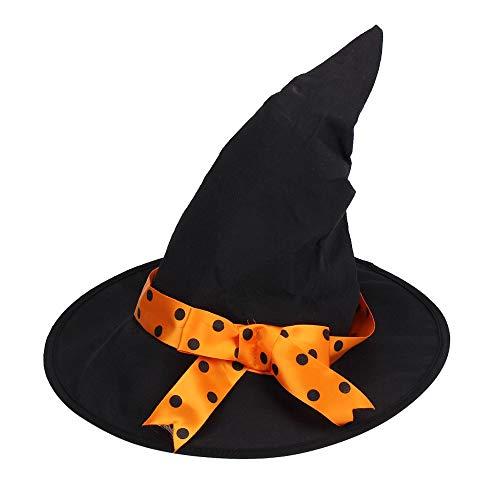 Macxy - Ankunft Halloween-Party-Kind-Kind-Cosplay-Hexe-Kostüm für Mädchen Halloween-Kostüm-Party-Hexe-Kleid mit Hut [4T Gelb]