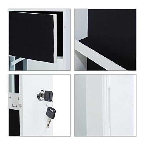 Relaxdays Schmuckschrank mit Spiegel, Schmuckkasten hängend für Tür, Schmuck Spiegelschrank, HxBxT: 120x36,5x10cm, weiß - 6