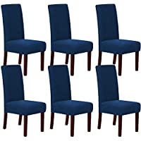 McDou Chair Cover Waterproof Fleece Spandex Chair Covers Dining Chair Slipcovers Stretch Jacquard For Living Room Kitchen Wedding, Navy Blue - 6PCS