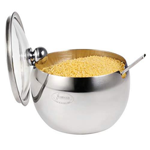 Newness Bol à sucre, bol en acier inoxydable avec couvercle transparent (pour une meilleure reconnaissance) et cuillère à sucre pour la maison et la cuisine, forme de tambour, 240 ML (8,42 oz)