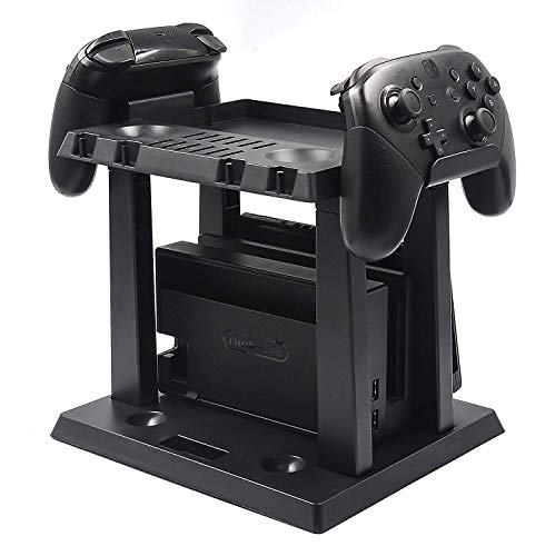 Tidoom Switch Controller Game Storage Multifunction Bracket Tower PS4 Game Card Box Holder Stand Shelf Compatible for Nintendo Switch Controller Console Host Game Disc Card