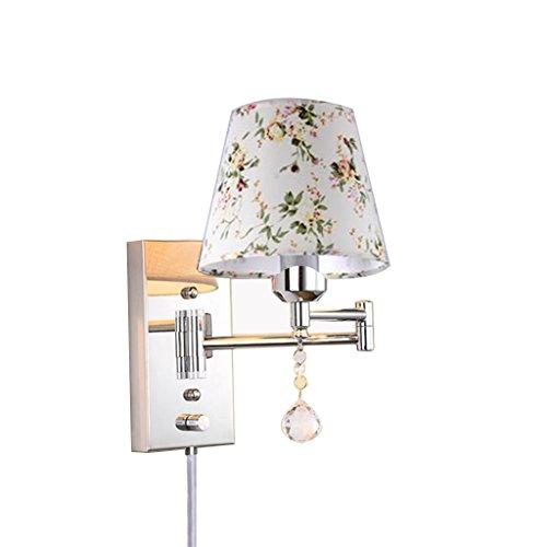 Plug-in Swing Arm Lampe (SMQ Plug-in Swing Arm Wand-Lampe-E27 Metall Kristall-Tuch Lampenschirm-Wohnzimmer Schlafzimmer Bett Studie-Wandlampe Zwei Größen zur Auswahl Personality kreative Wandleuchte (größe : 32cm×25cm))
