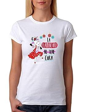 MardeTé Camiseta La Flamencura no Tiene Cura. Camiseta de Mujer de Unicornio Flamenca. Ideal para Regalo Divertido.