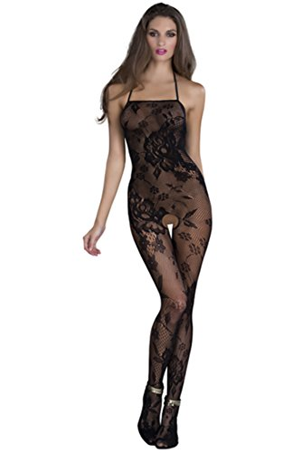 Golden Girl Women's Black Fish Net Self Design Body stocking Babydoll Teddies Lingerie