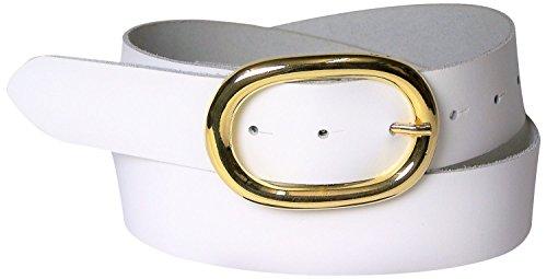 Fronhofer Damengürtel goldene Schnalle oval, 4 cm Gürtel Damen echt Leder schwarz, braun, dunkelbraun, cognac, weiß, rot, 17613, Größe:Bundweite 85 cm, Farbe:Weiß