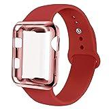 INZAKI Correa con Funda para Apple Watch 42mm, Pantalla para iWatch Serie 3/2 / 1, Sport, Edition,Rosa