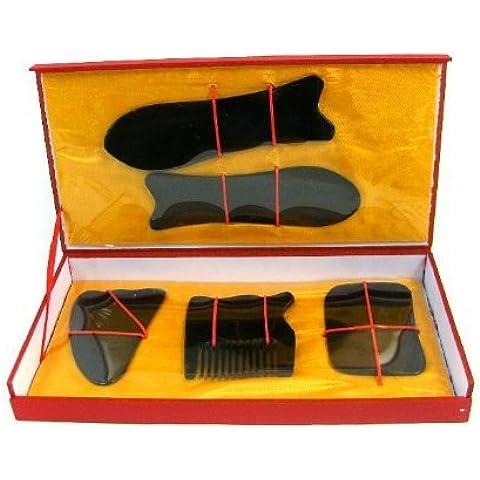 EQLEF® Natural Water Buffalo Horn Gua Sha Guasha Massage Tool Board (five pcs set - black) by EQLEF®