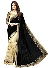 Fashion Vogue Women's Georgette Embroidered Black AND Cream Color Saree With Blouse Piece(Black_Biege_saree)