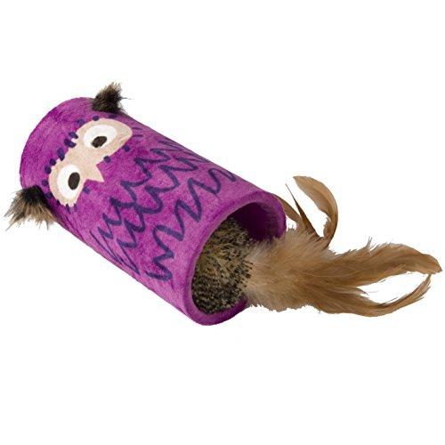 GiGwi 7135 Elektrisches/Interaktives Katzenspielzeug Melody Chaser Rolle mit bewegungsabhängigen Geräuschen und Eulenmotiv, Federspielzeug mit natürlichen Federn, zur Beschäftigung