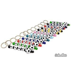 Schlüsselanhänger mit Namen Kinder Gravur beschriftbar Motivperle Fußball Schultasche Rucksack Kindergartentasche Schlüsselring Vereinsfarben mit Name   Junge Mädchen Namenskette