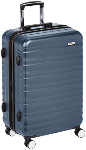 AmazonBasics - Trolley rigido premium, con rotelle pivotanti e lucchetto TSA integrato, 78 cm, Blu marino