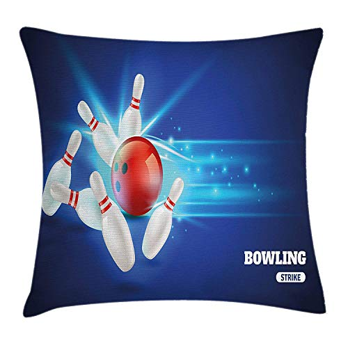 Decorations Throw Pillow Cushion Cover, Bowling Strike Red Ball and Classical Pins Vivid Composition, Decorative Square Accent Pillow Case, 18 X 18 Inches, Red Aqua Blue ()
