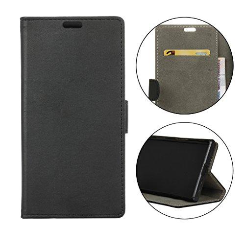 Sunrive Hülle Für Alcatel A7 XL 7071D, Magnetisch Schaltfläche Ledertasche Schutzhülle Case Handyhülle Schalen Handy Tasche Lederhülle(Ebene schwarz)+Gratis Universal Eingabestift